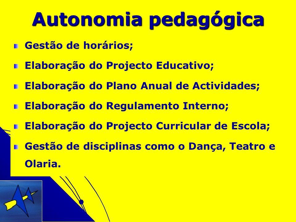 Autonomia pedagógica Gestão de horários;