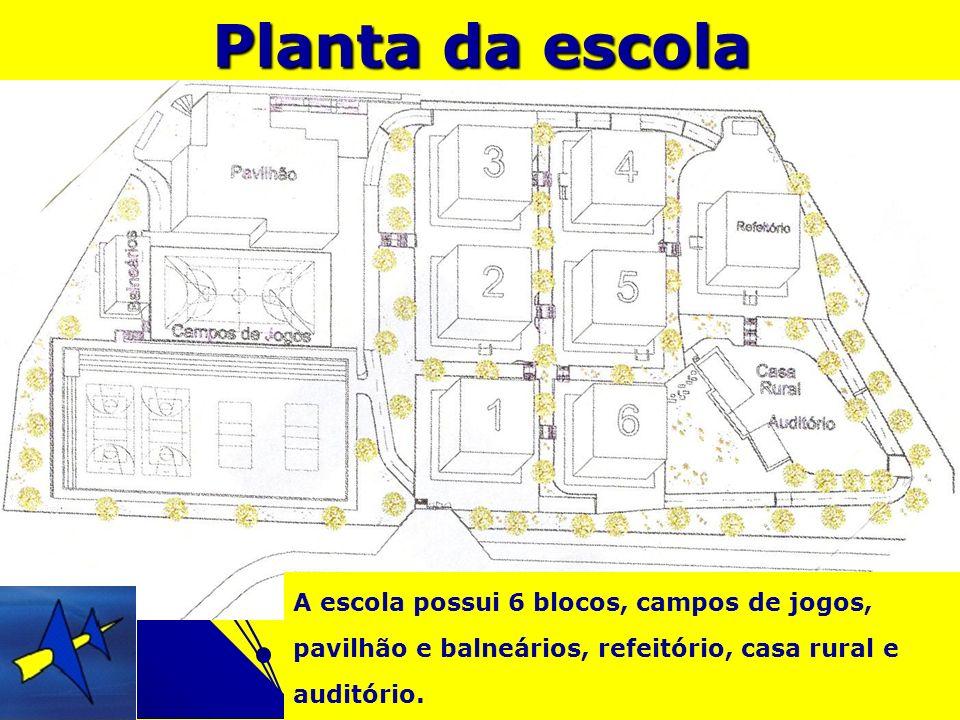 Planta da escolaA escola possui 6 blocos, campos de jogos, pavilhão e balneários, refeitório, casa rural e auditório.