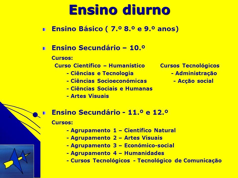 Ensino diurno Ensino Básico ( 7.º 8.º e 9.º anos)
