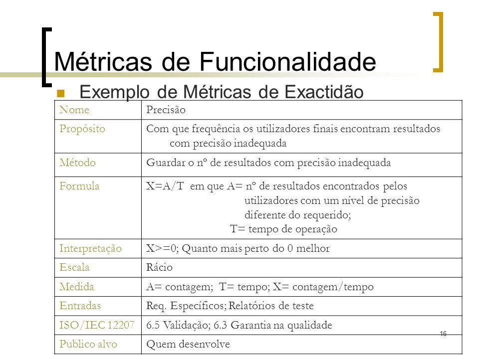 Métricas de Funcionalidade