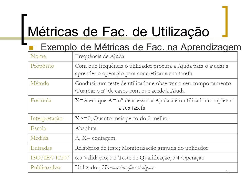Métricas de Fac. de Utilização