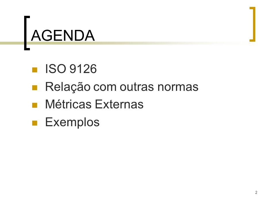 AGENDA ISO 9126 Relação com outras normas Métricas Externas Exemplos