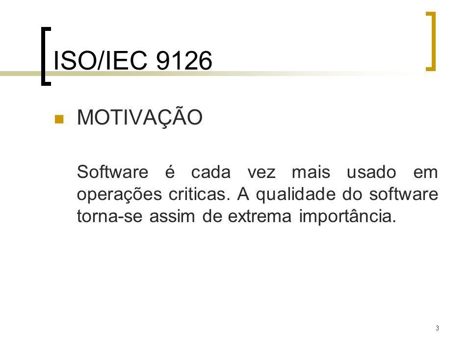 ISO/IEC 9126 MOTIVAÇÃO. Software é cada vez mais usado em operações criticas.