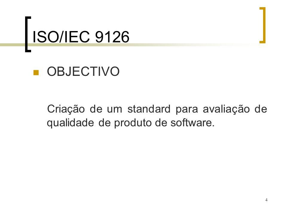 ISO/IEC 9126 OBJECTIVO Criação de um standard para avaliação de qualidade de produto de software.