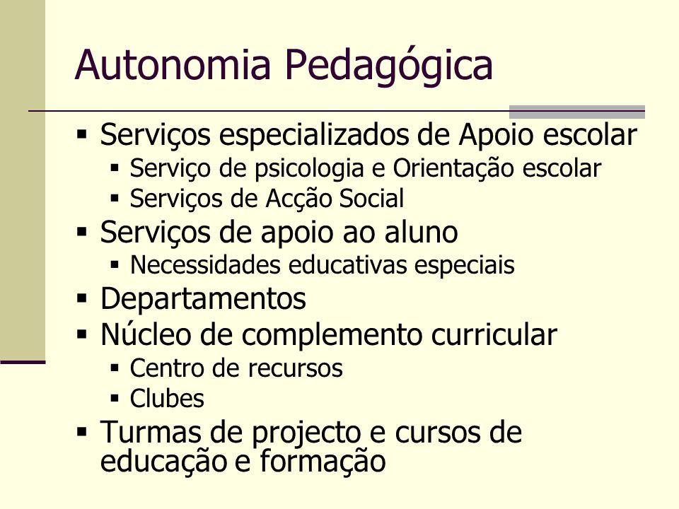 Autonomia Pedagógica Serviços especializados de Apoio escolar