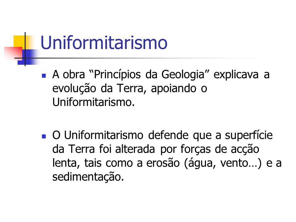 Uniformitarismo A obra Princípios da Geologia explicava a evolução da Terra, apoiando o Uniformitarismo.