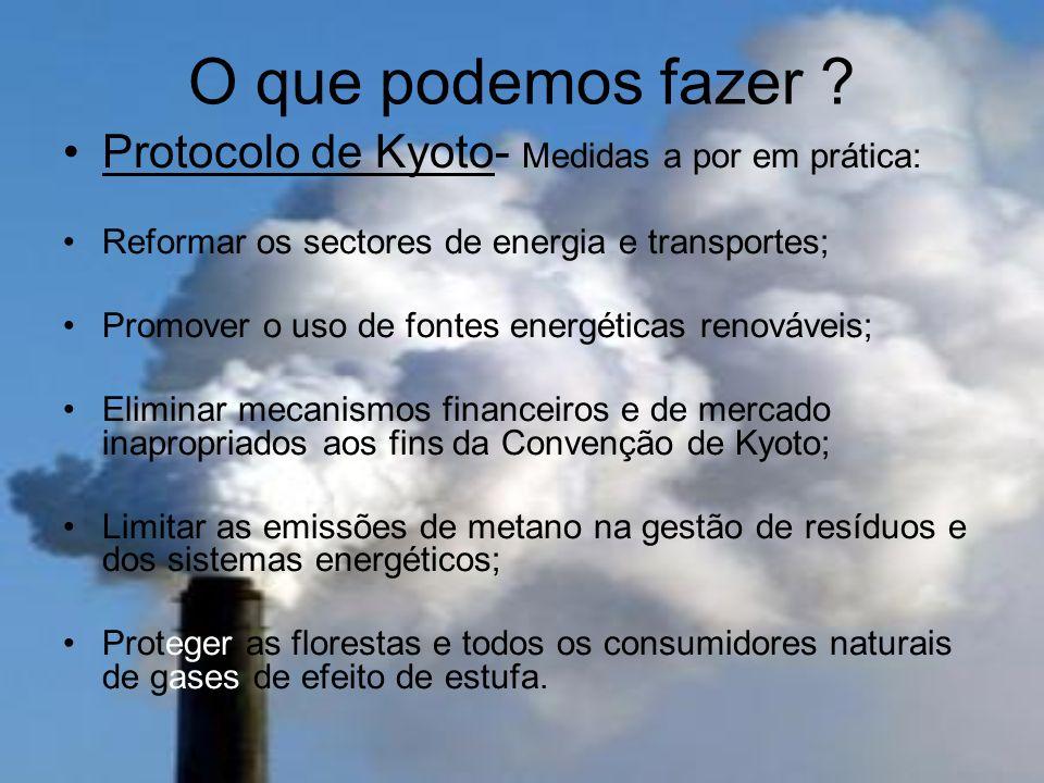 O que podemos fazer Protocolo de Kyoto- Medidas a por em prática: