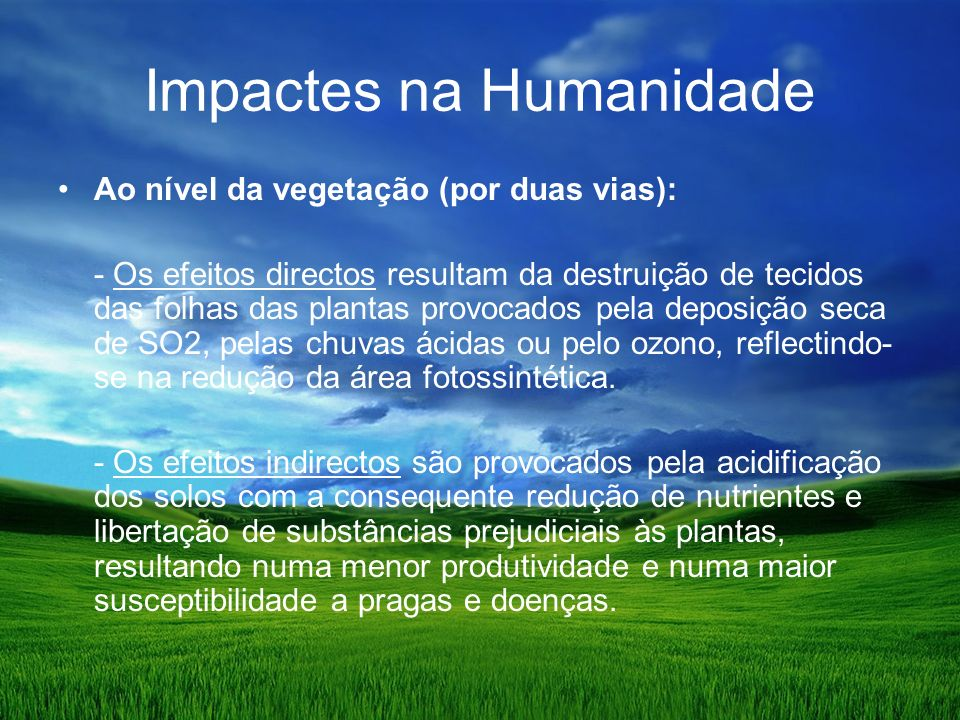 Impactes na Humanidade
