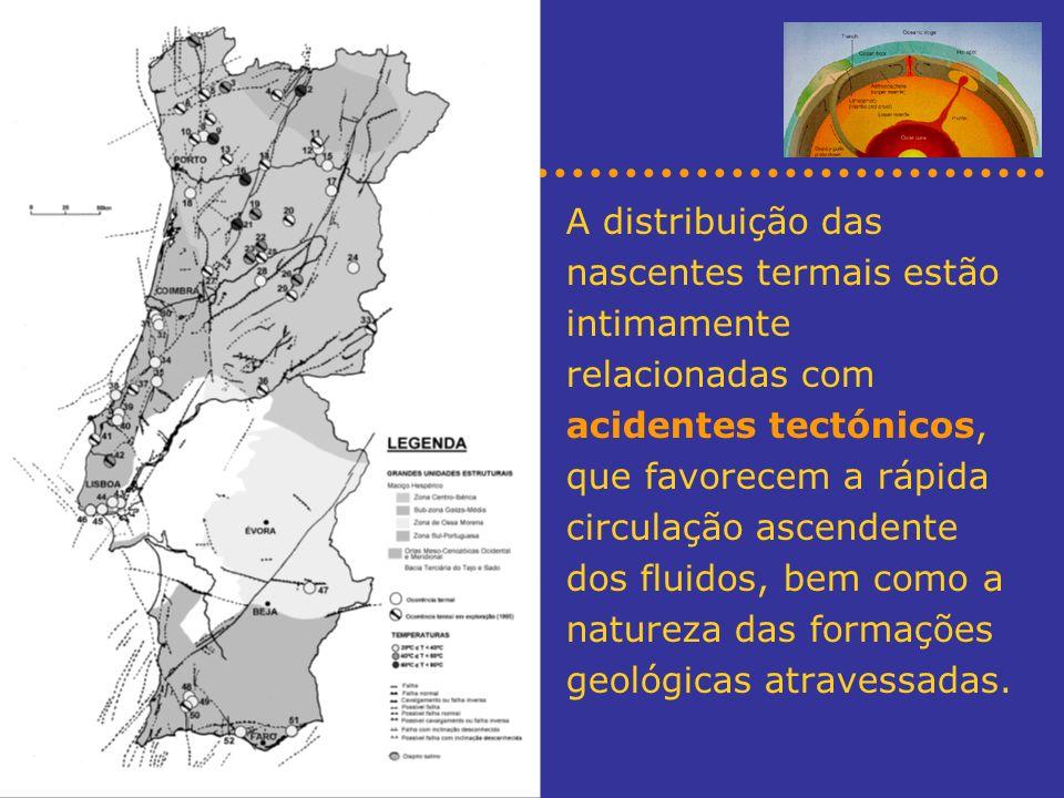 A distribuição das nascentes termais estão intimamente relacionadas com acidentes tectónicos, que favorecem a rápida circulação ascendente dos fluidos, bem como a natureza das formações geológicas atravessadas.