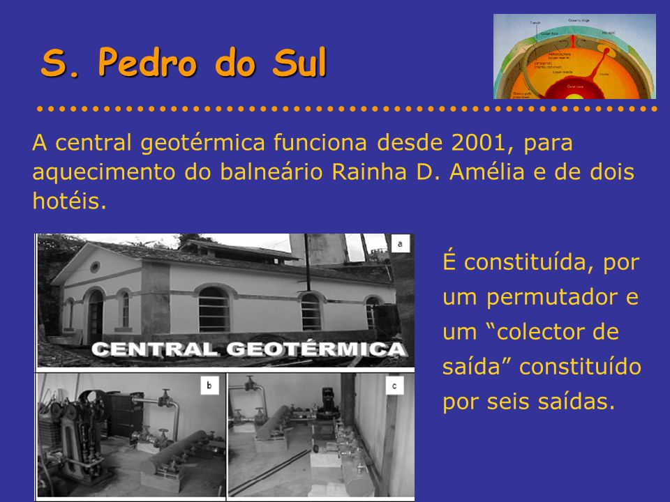 S. Pedro do Sul A central geotérmica funciona desde 2001, para aquecimento do balneário Rainha D. Amélia e de dois hotéis.