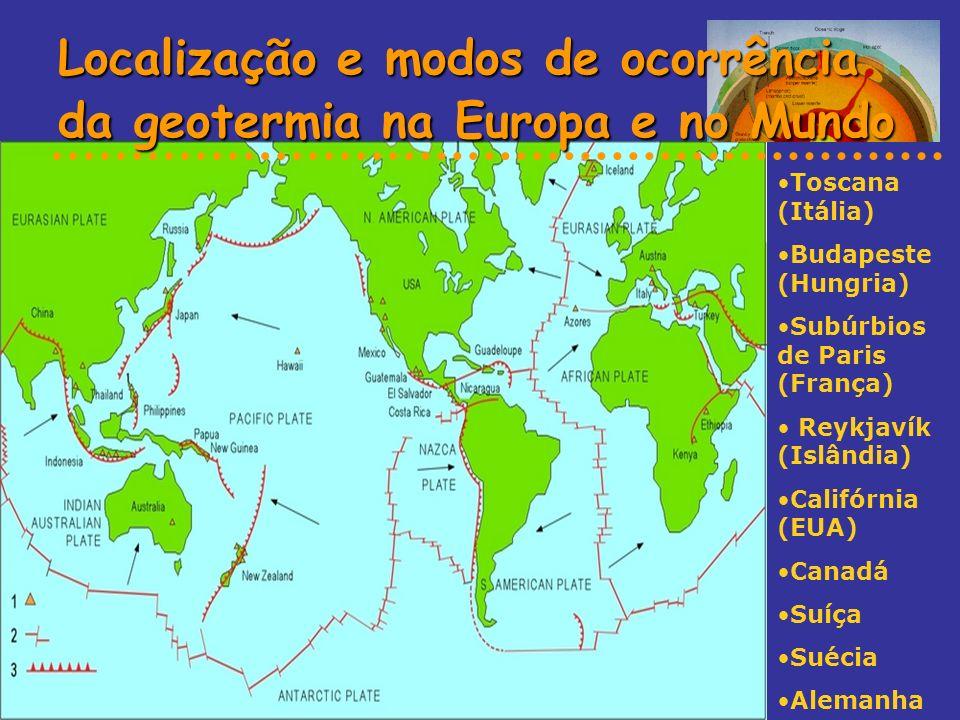 Localização e modos de ocorrência da geotermia na Europa e no Mundo