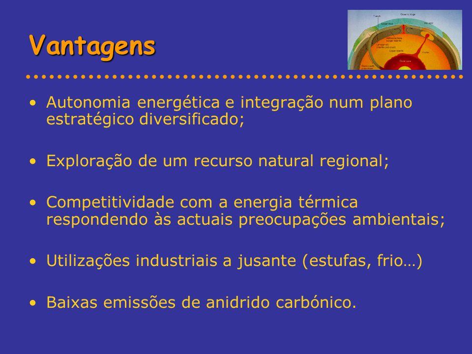 Vantagens Autonomia energética e integração num plano estratégico diversificado; Exploração de um recurso natural regional;