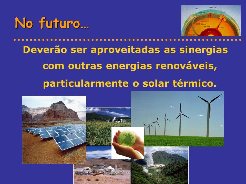 No futuro… Deverão ser aproveitadas as sinergias com outras energias renováveis, particularmente o solar térmico.