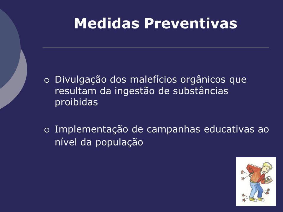 Medidas Preventivas Divulgação dos malefícios orgânicos que resultam da ingestão de substâncias proibidas.