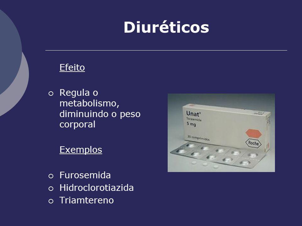 Diuréticos Efeito Regula o metabolismo, diminuindo o peso corporal
