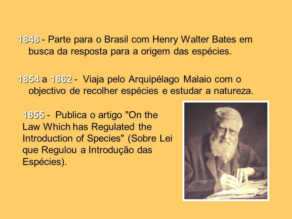 1848 - Parte para o Brasil com Henry Walter Bates em busca da resposta para a origem das espécies.