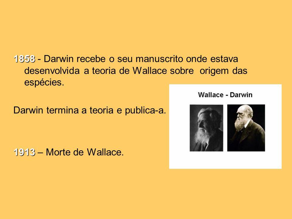 1858 - Darwin recebe o seu manuscrito onde estava desenvolvida a teoria de Wallace sobre origem das espécies.