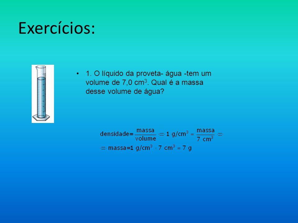 Exercícios: 1. O líquido da proveta- água -tem um volume de 7,0 cm3.