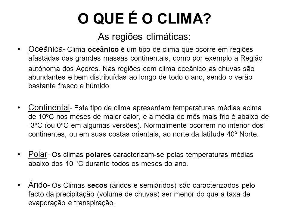 As regiões climáticas: