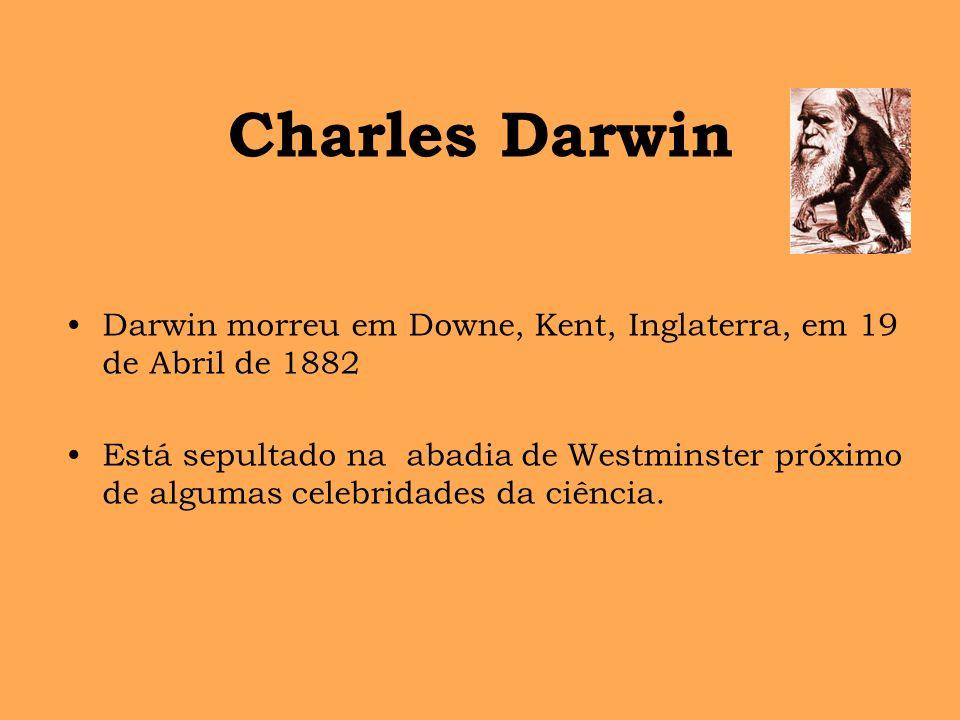 Charles Darwin Darwin morreu em Downe, Kent, Inglaterra, em 19 de Abril de 1882.