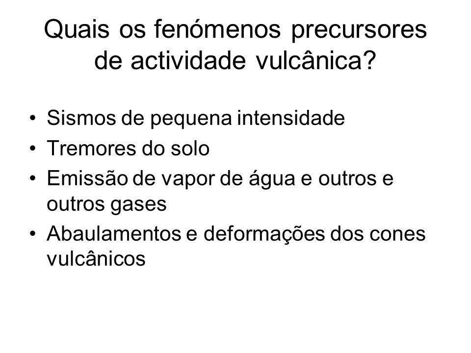 Quais os fenómenos precursores de actividade vulcânica