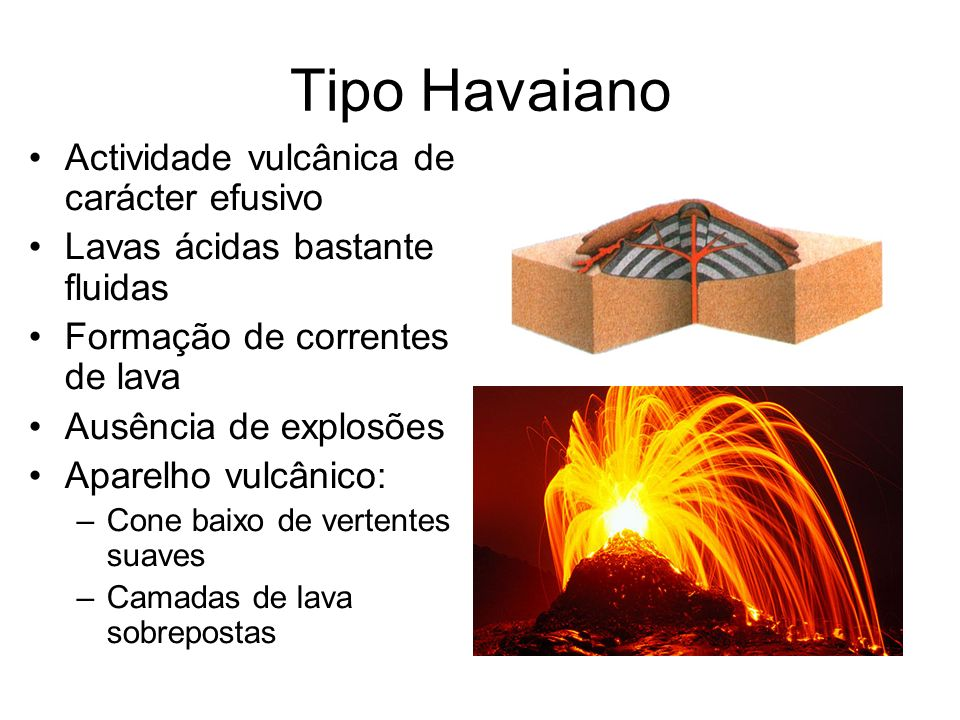 Tipo Havaiano Actividade vulcânica de carácter efusivo