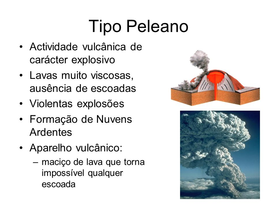 Tipo Peleano Actividade vulcânica de carácter explosivo