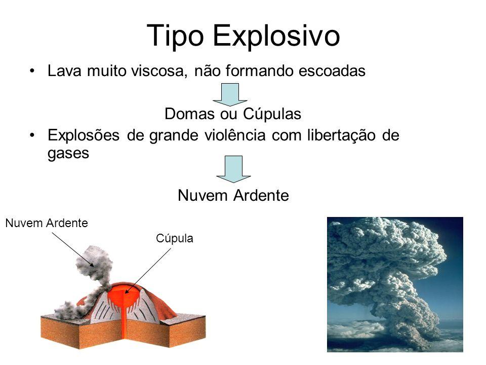 Tipo Explosivo Lava muito viscosa, não formando escoadas