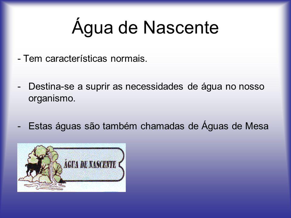 Água de Nascente - Tem características normais.