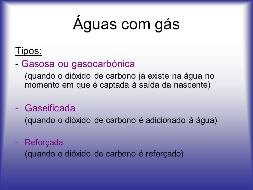 Águas com gás Tipos: - Gasosa ou gasocarbónica Gaseificada
