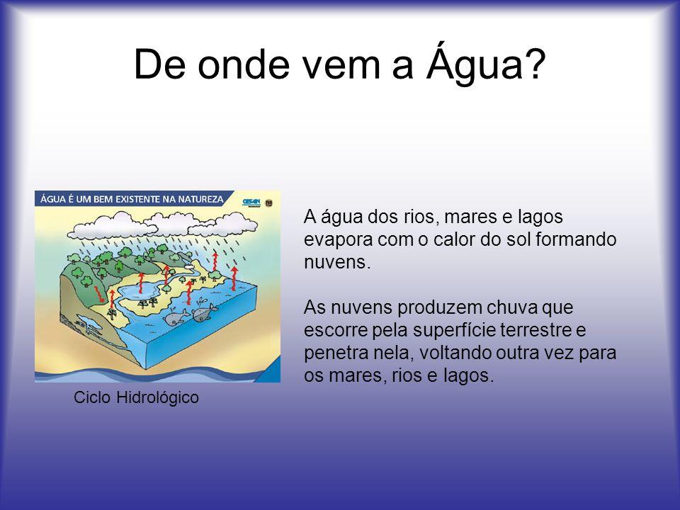 De onde vem a Água A água dos rios, mares e lagos evapora com o calor do sol formando nuvens.