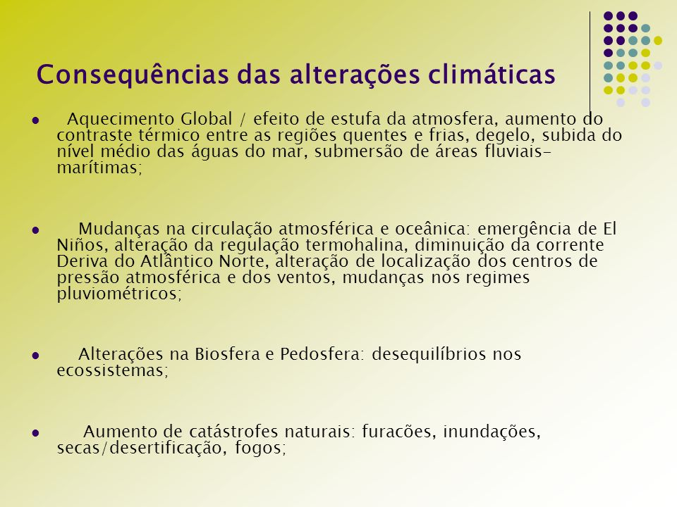 Consequências das alterações climáticas