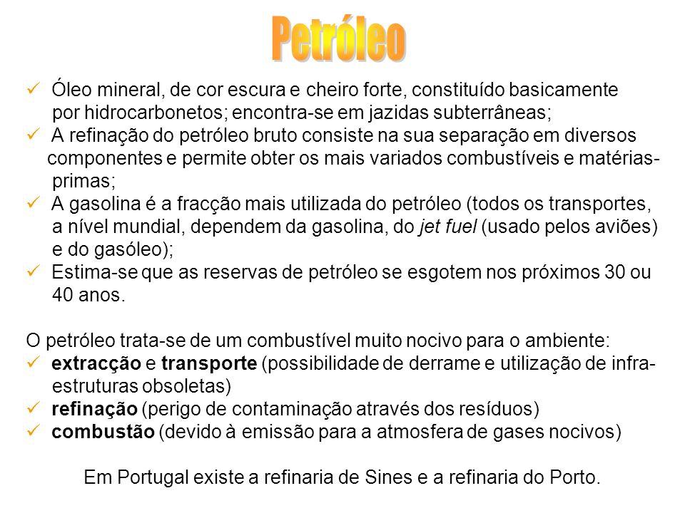 Em Portugal existe a refinaria de Sines e a refinaria do Porto.
