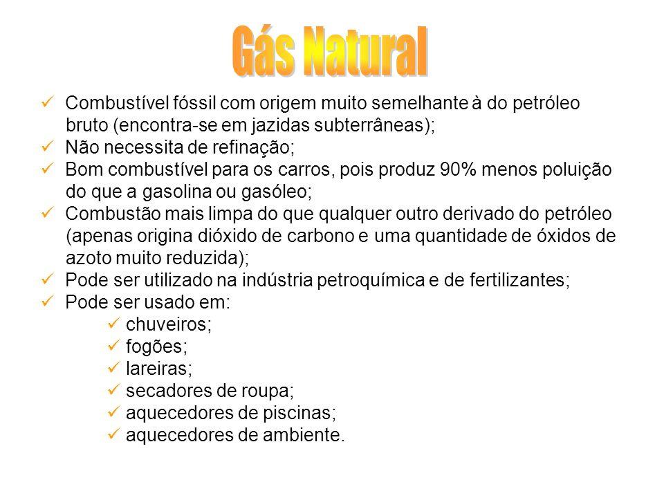 Gás Natural Combustível fóssil com origem muito semelhante à do petróleo. bruto (encontra-se em jazidas subterrâneas);