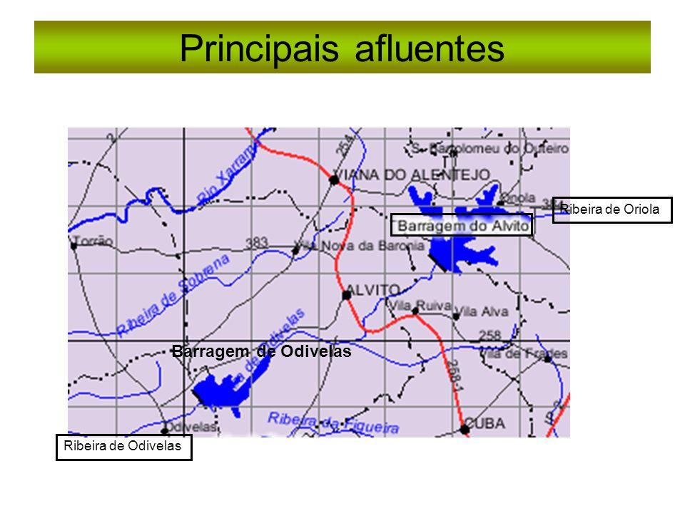 Principais afluentes Barragem de Odivelas Ribeira de Oriola