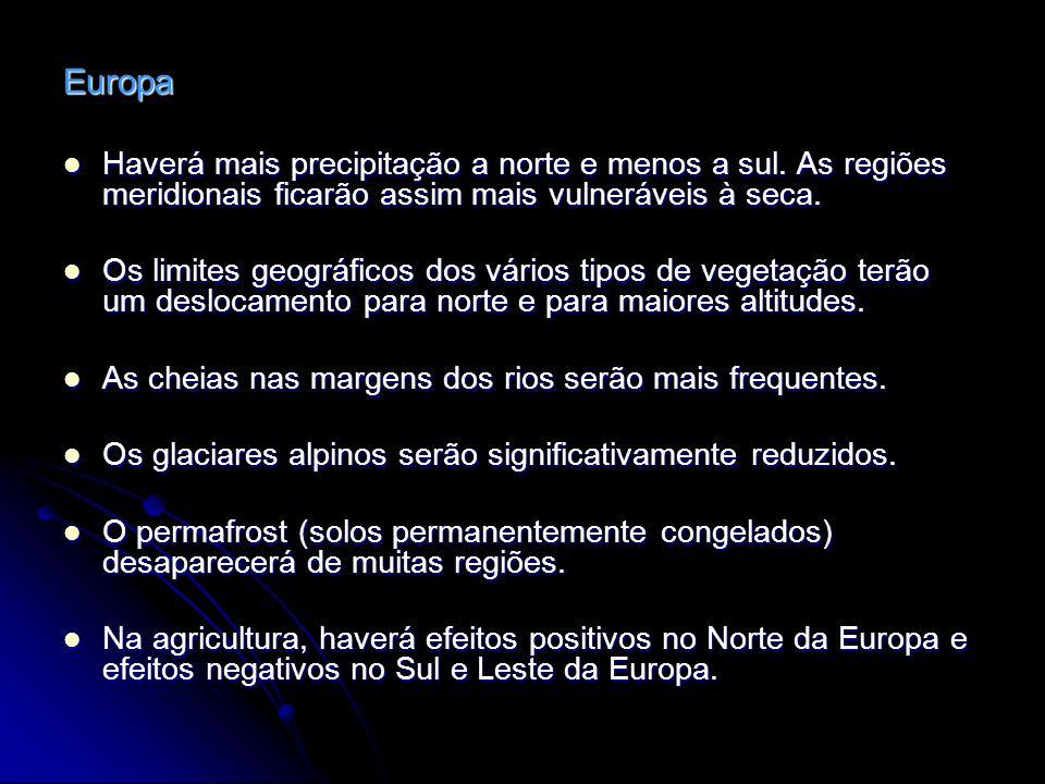 Europa Haverá mais precipitação a norte e menos a sul. As regiões meridionais ficarão assim mais vulneráveis à seca.
