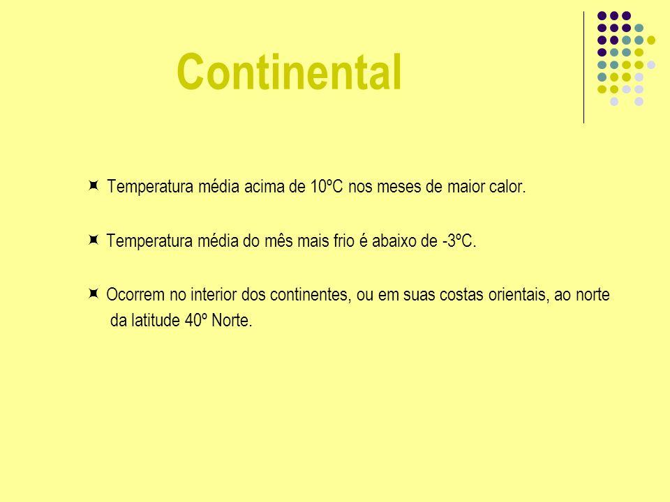 Continental Temperatura média acima de 10ºC nos meses de maior calor.  Temperatura média do mês mais frio é abaixo de -3ºC.
