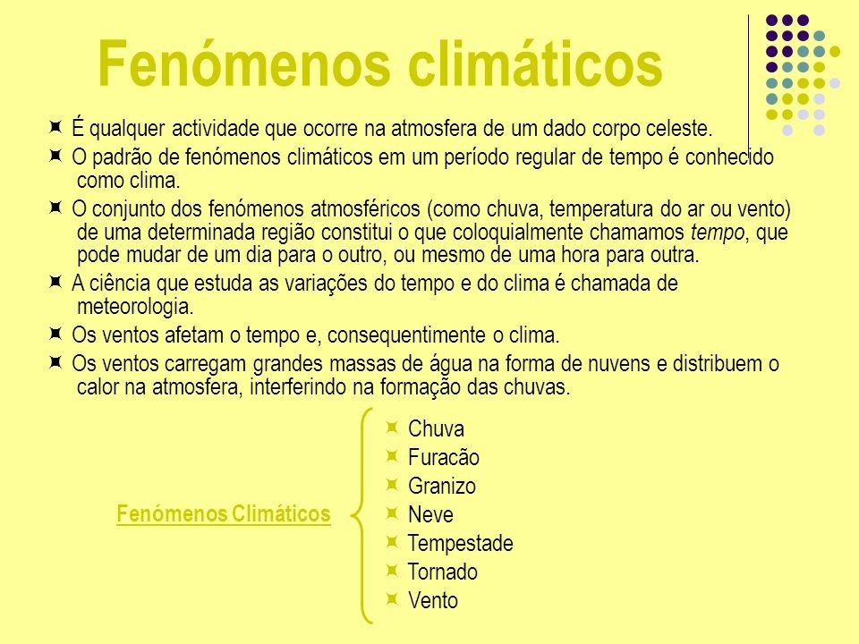 Fenómenos climáticos  É qualquer actividade que ocorre na atmosfera de um dado corpo celeste.