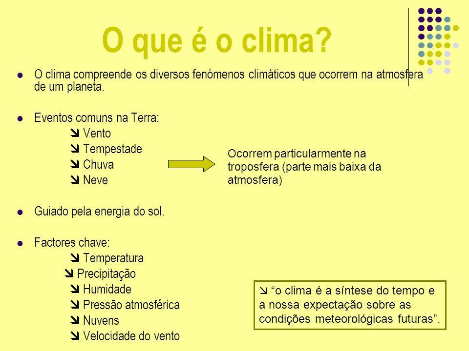 O que é o clima O clima compreende os diversos fenómenos climáticos que ocorrem na atmosfera de um planeta.
