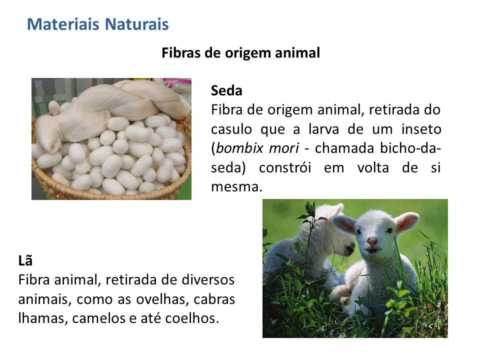 Materiais Naturais Fibras de origem animal Seda