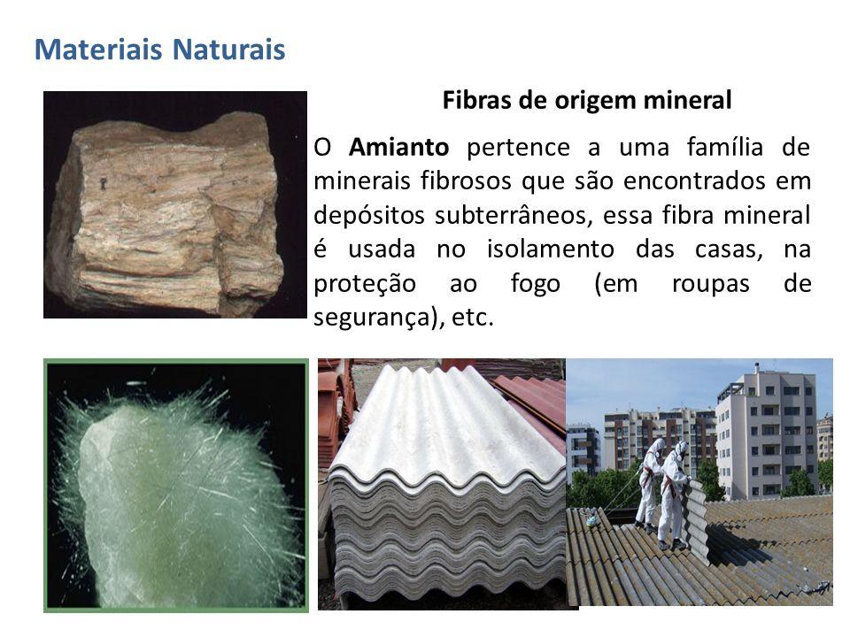 Materiais Naturais Fibras de origem mineral.
