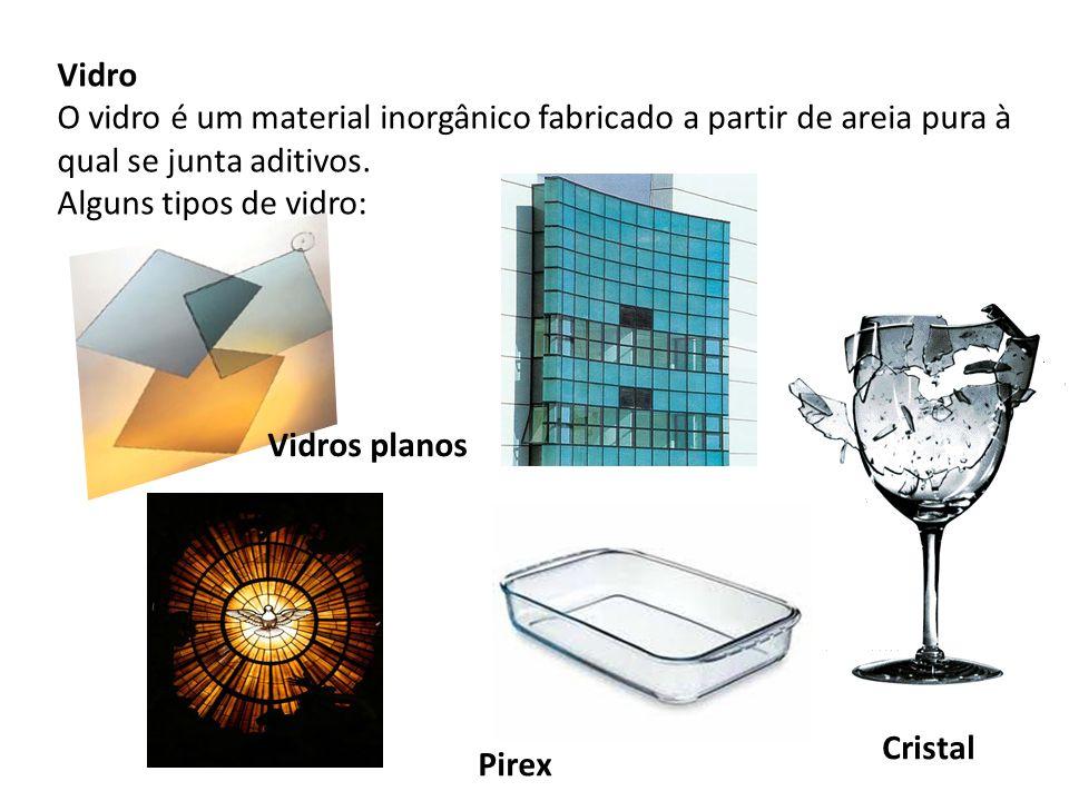 Vidro O vidro é um material inorgânico fabricado a partir de areia pura à qual se junta aditivos. Alguns tipos de vidro: