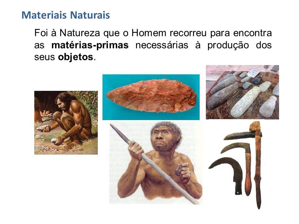Materiais Naturais Foi à Natureza que o Homem recorreu para encontra as matérias-primas necessárias à produção dos seus objetos.