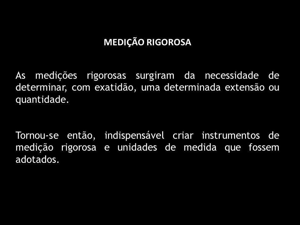 MEDIÇÃO RIGOROSA As medições rigorosas surgiram da necessidade de determinar, com exatidão, uma determinada extensão ou quantidade.