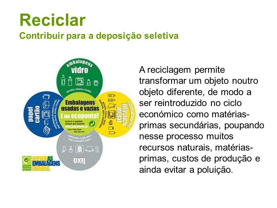 Reciclar Contribuir para a deposição seletiva