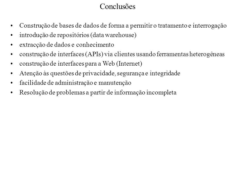 Conclusões Construção de bases de dados de forma a permitir o tratamento e interrogação. introdução de repositórios (data warehouse)