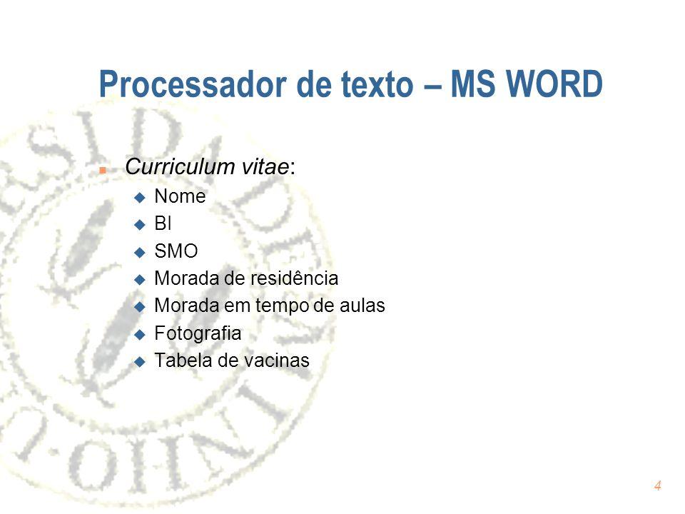 Processador de texto – MS WORD