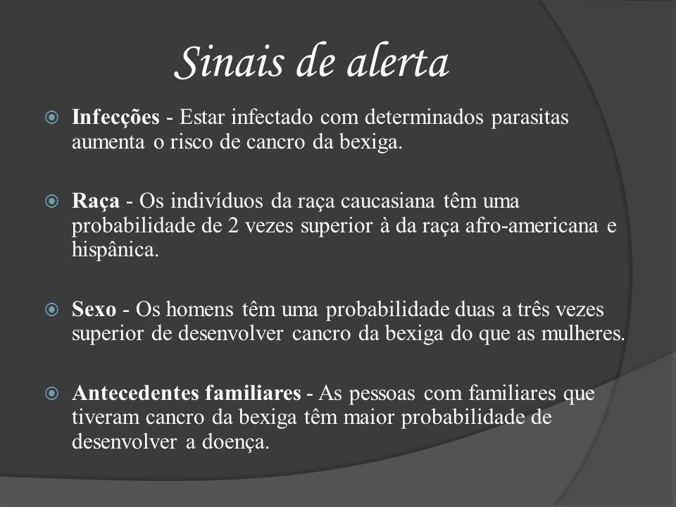 Sinais de alerta Infecções - Estar infectado com determinados parasitas aumenta o risco de cancro da bexiga.
