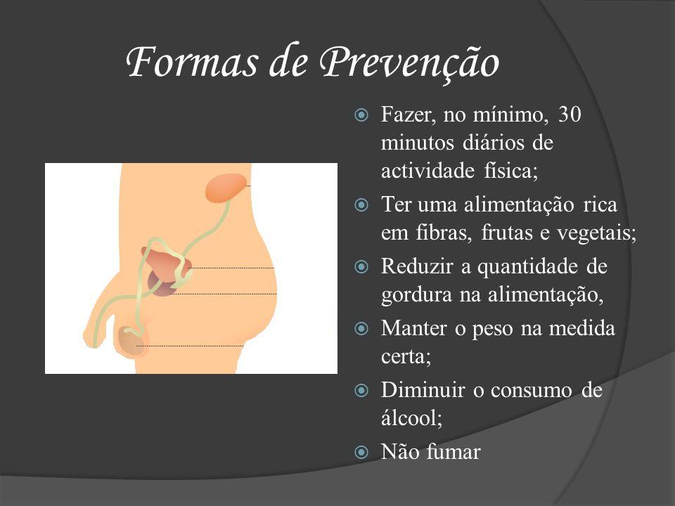 Formas de Prevenção Fazer, no mínimo, 30 minutos diários de actividade física; Ter uma alimentação rica em fibras, frutas e vegetais;