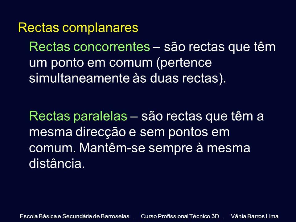Rectas complanares Rectas concorrentes – são rectas que têm um ponto em comum (pertence simultaneamente às duas rectas).